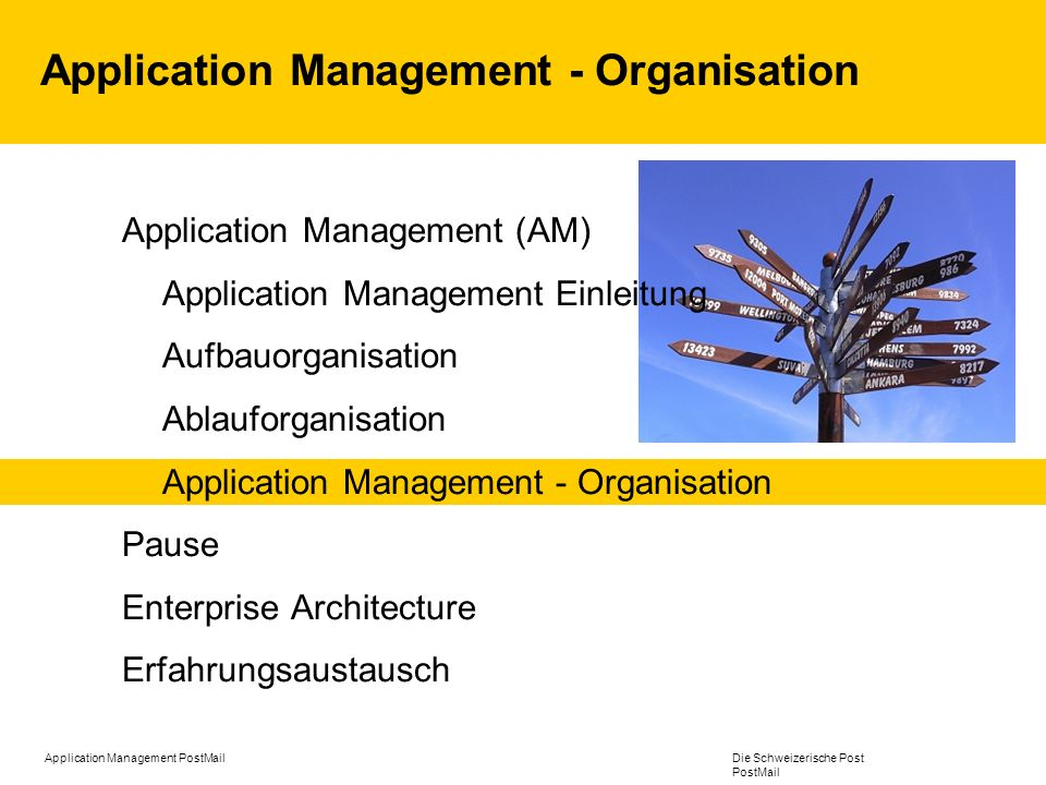 Application Management - Organisation