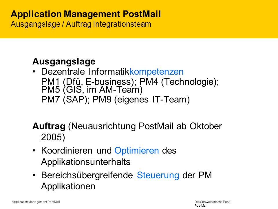 Application Management PostMail Ausgangslage / Auftrag Integrationsteam