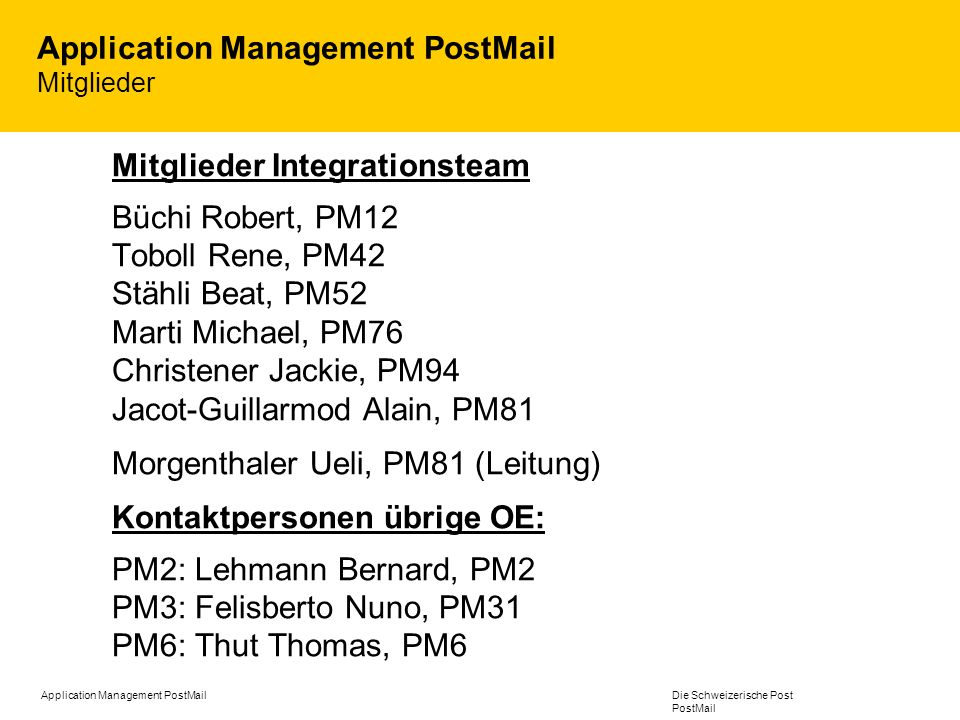 Application Management PostMail Mitglieder