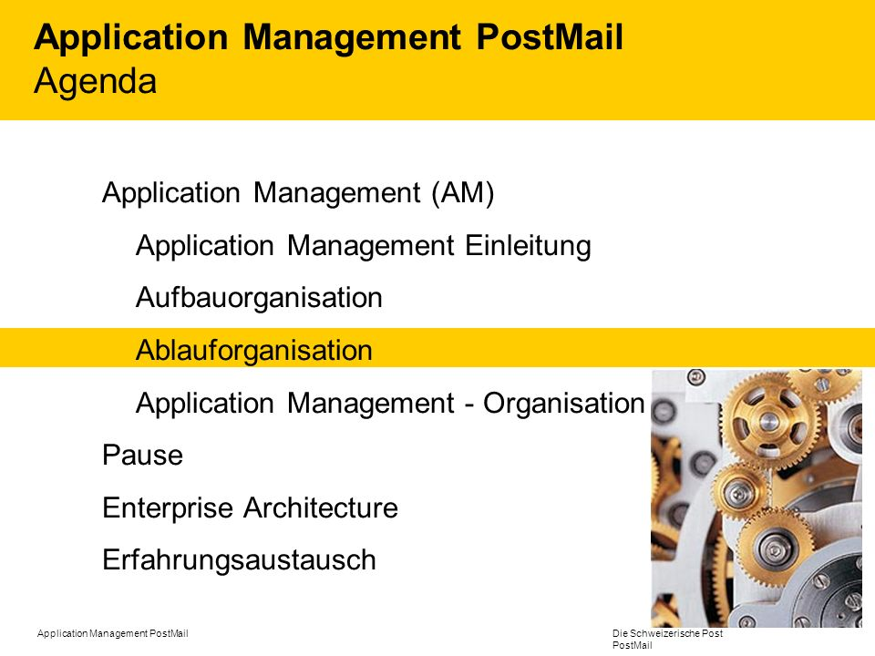 Application Management PostMail Agenda