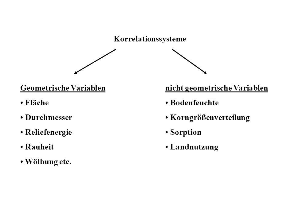 Korrelationssysteme Geometrische Variablen. Fläche. Durchmesser. Reliefenergie. Rauheit. Wölbung etc.