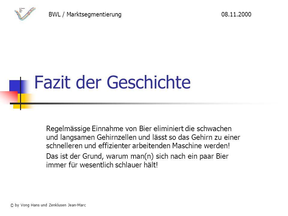 BWL / Marktsegmentierung 08.11.2000