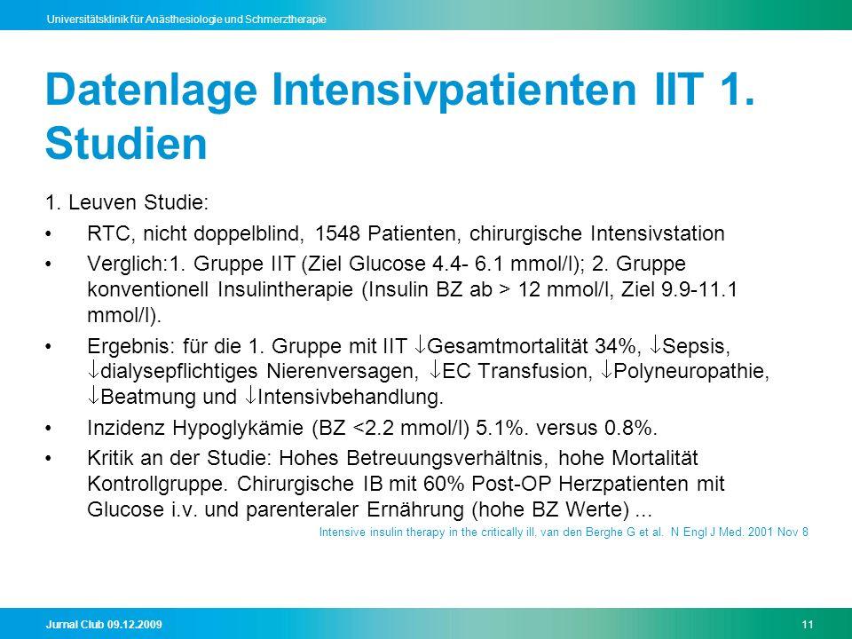 Datenlage Intensivpatienten IIT 1. Studien
