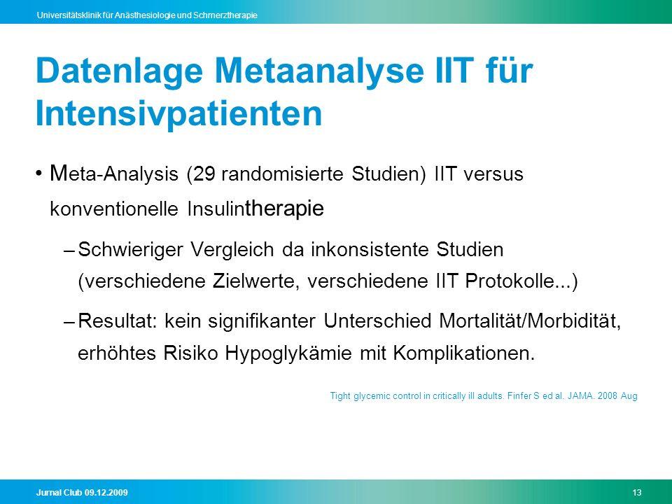 Datenlage Metaanalyse IIT für Intensivpatienten