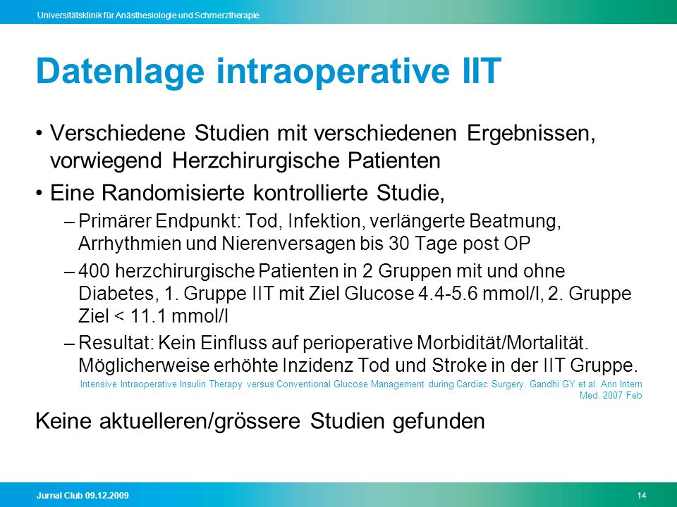 Datenlage intraoperative IIT