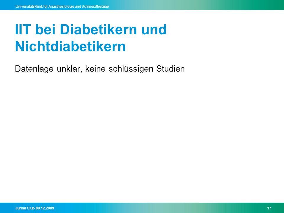 IIT bei Diabetikern und Nichtdiabetikern