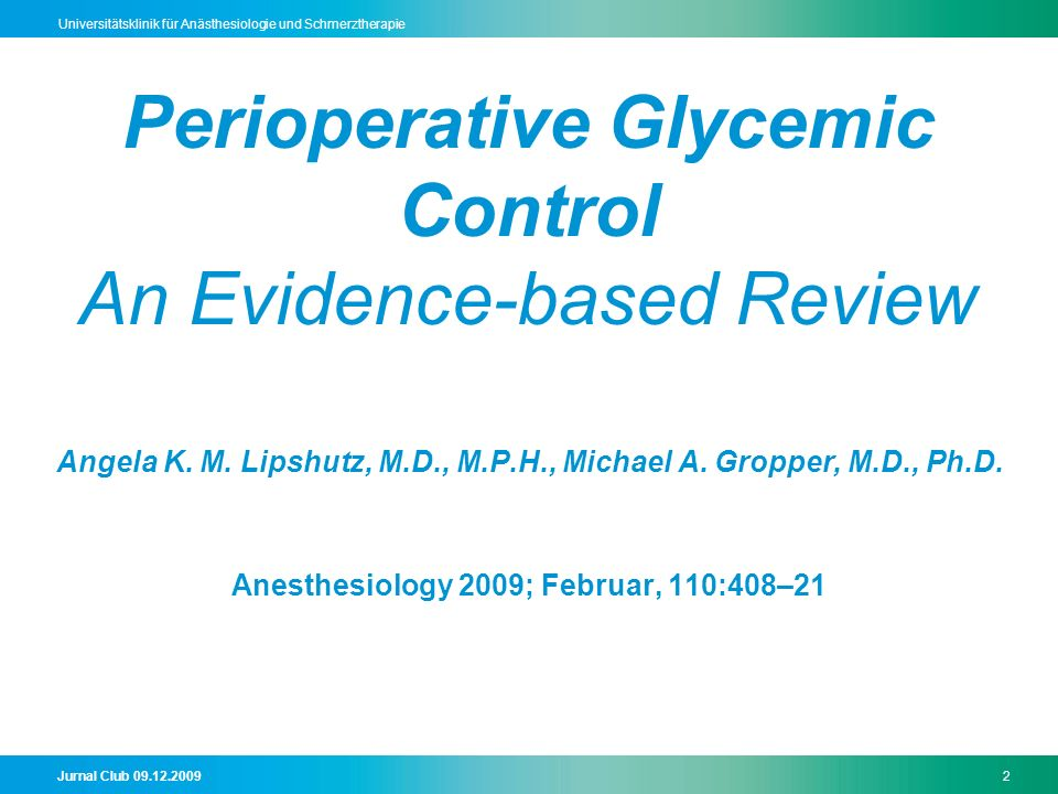 Perioperative Glycemic Control An Evidence-based Review