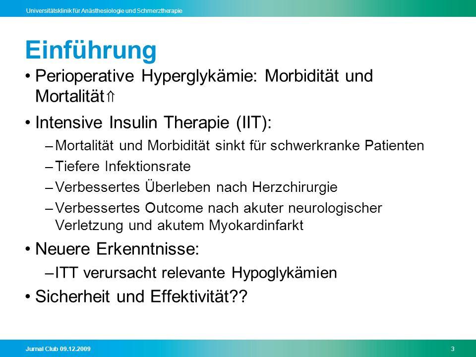 Einführung Perioperative Hyperglykämie: Morbidität und Mortalität⇑