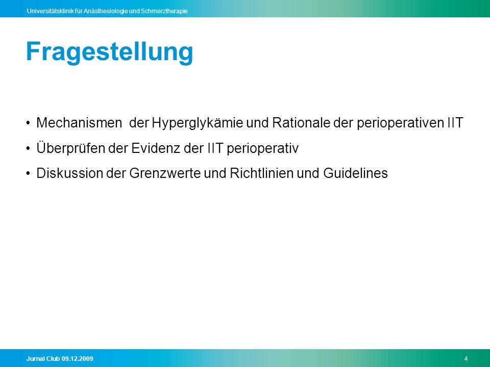 Fragestellung Mechanismen der Hyperglykämie und Rationale der perioperativen IIT. Überprüfen der Evidenz der IIT perioperativ.