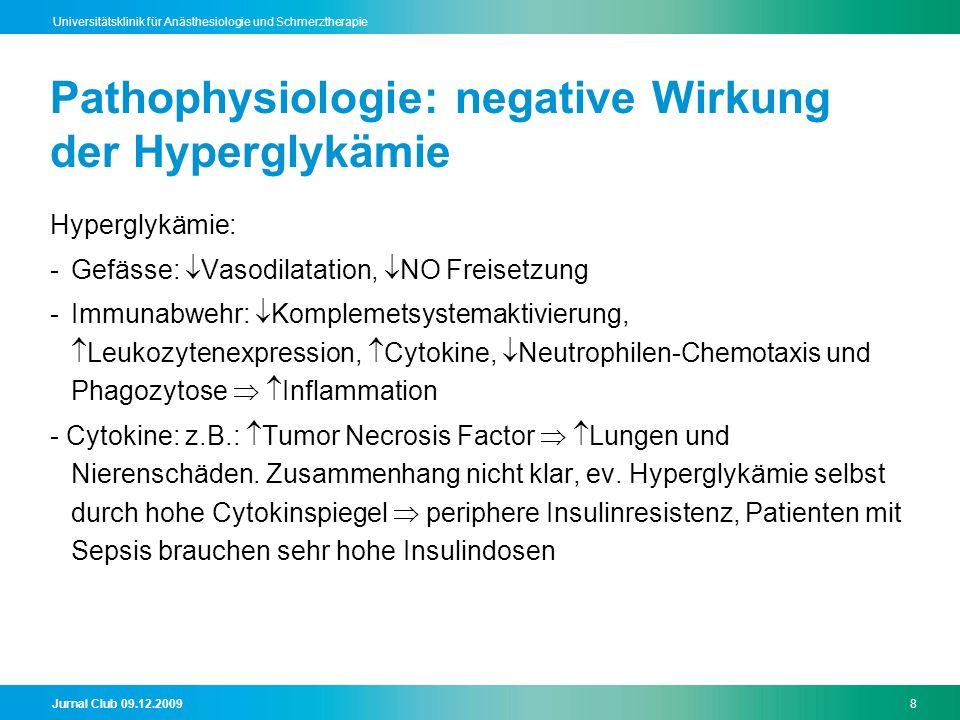 Pathophysiologie: negative Wirkung der Hyperglykämie