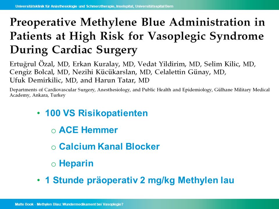 100 VS Risikopatienten ACE Hemmer. Calcium Kanal Blocker.