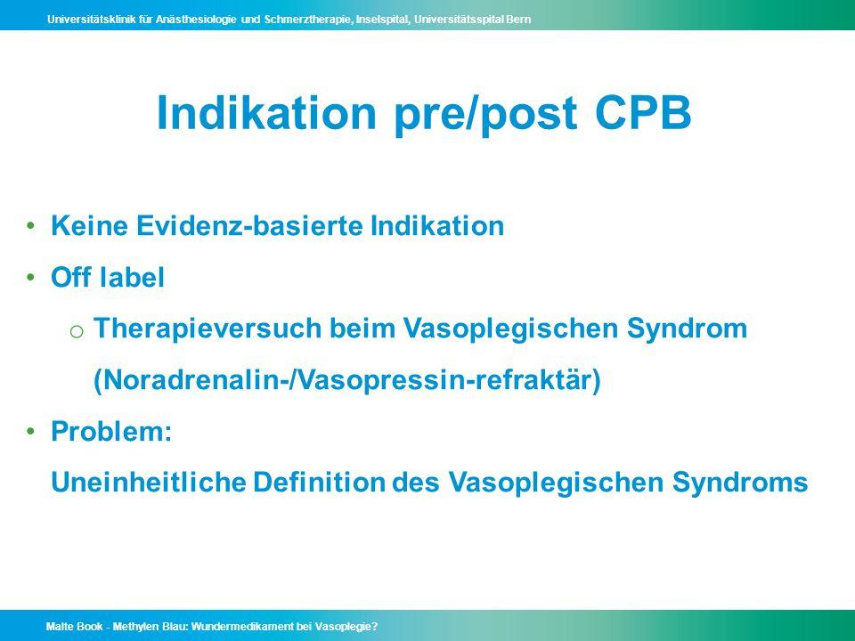 Indikation pre/post CPB