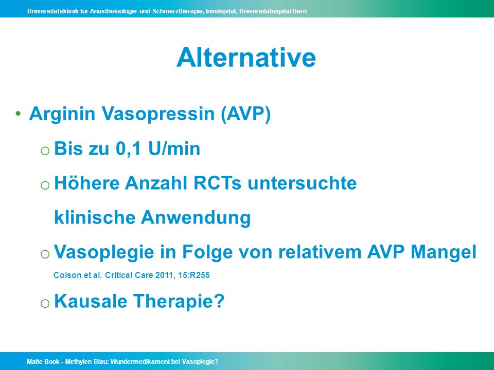 Alternative Arginin Vasopressin (AVP) Bis zu 0,1 U/min