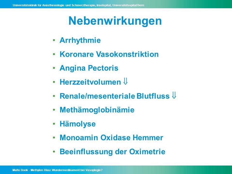 Nebenwirkungen Arrhythmie Koronare Vasokonstriktion Angina Pectoris