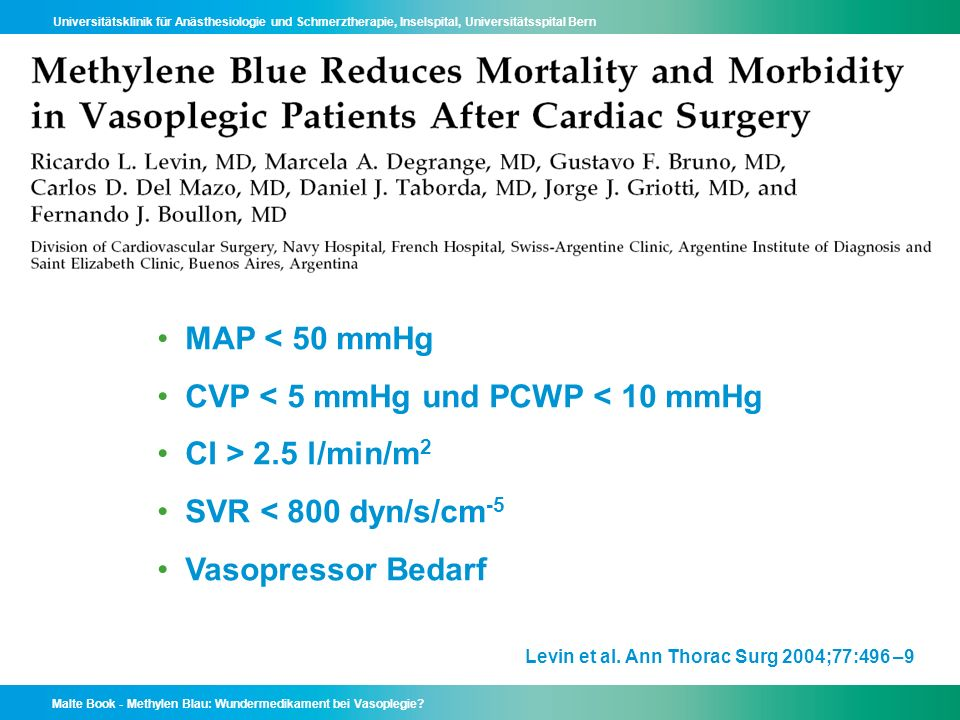 CVP < 5 mmHg und PCWP < 10 mmHg CI > 2.5 l/min/m2