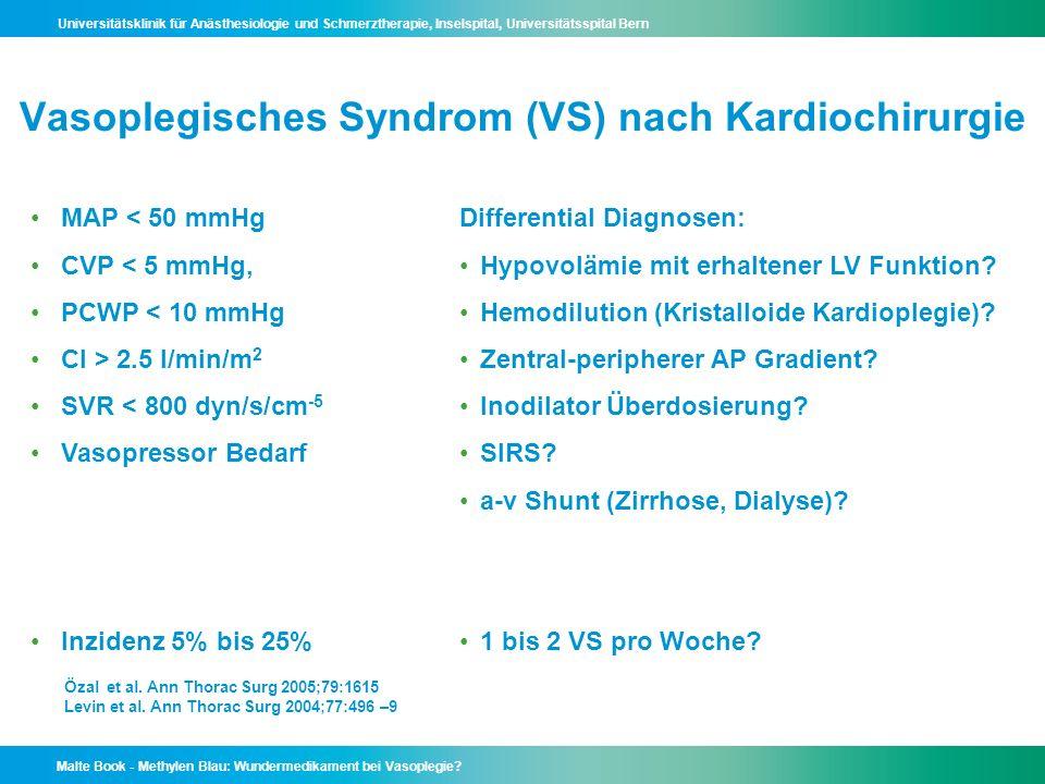 Vasoplegisches Syndrom (VS) nach Kardiochirurgie