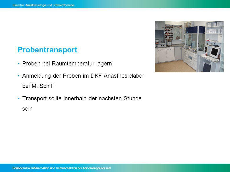 Probentransport Proben bei Raumtemperatur lagern