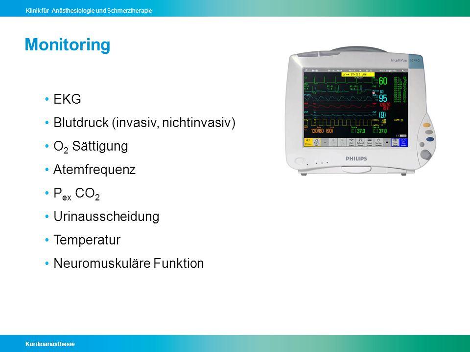 Monitoring EKG Blutdruck (invasiv, nichtinvasiv) O2 Sättigung