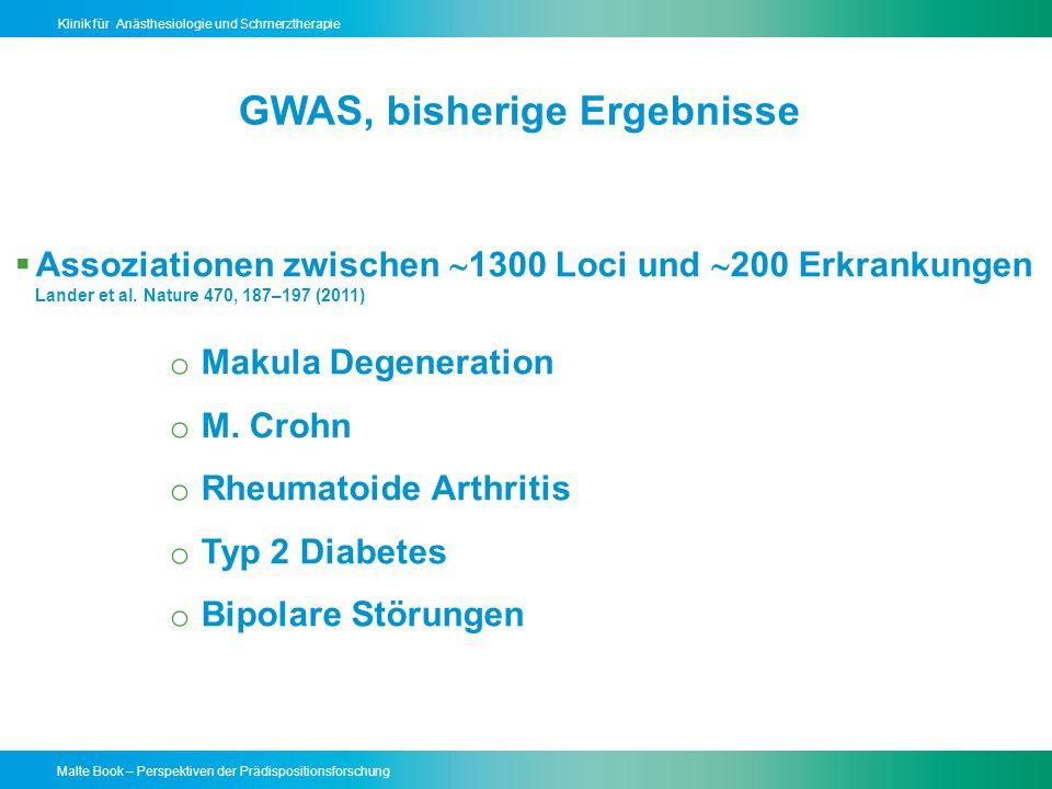 GWAS, bisherige Ergebnisse