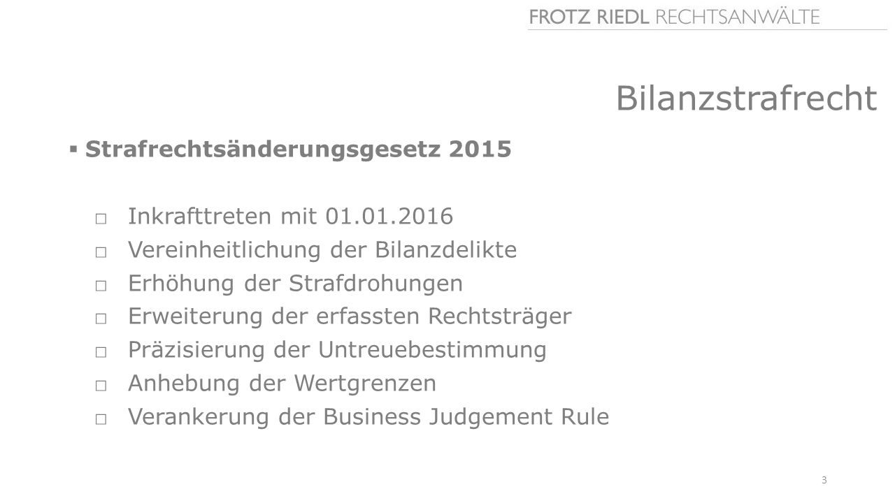 Bilanzstrafrecht Strafrechtsänderungsgesetz 2015