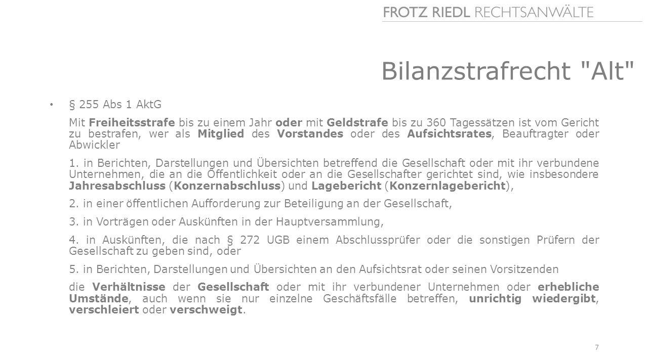 Bilanzstrafrecht Alt § 255 Abs 1 AktG