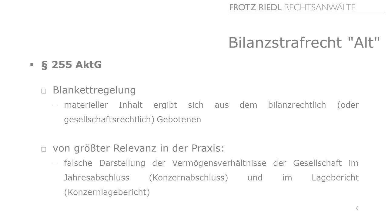 Bilanzstrafrecht Alt § 255 AktG Blankettregelung
