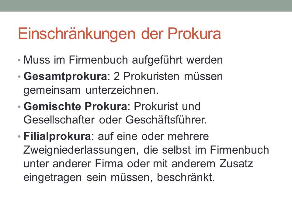 Einschränkungen der Prokura