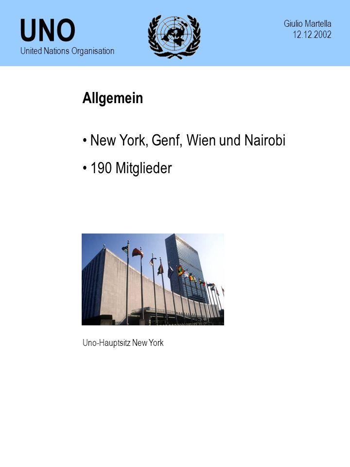 New York, Genf, Wien und Nairobi 190 Mitglieder