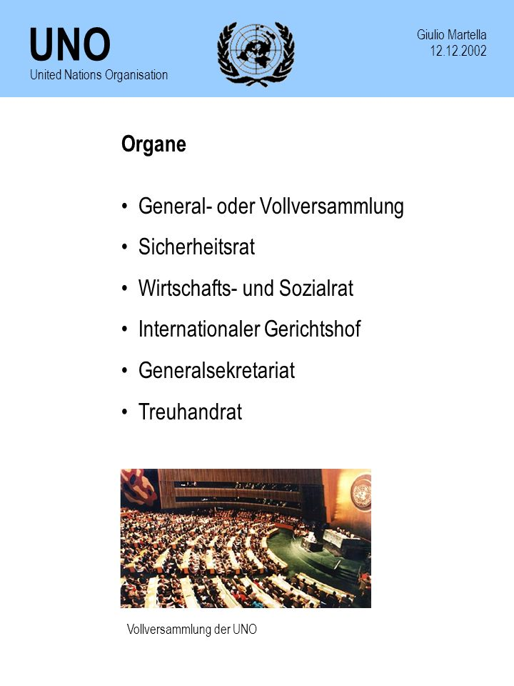 General- oder Vollversammlung Sicherheitsrat