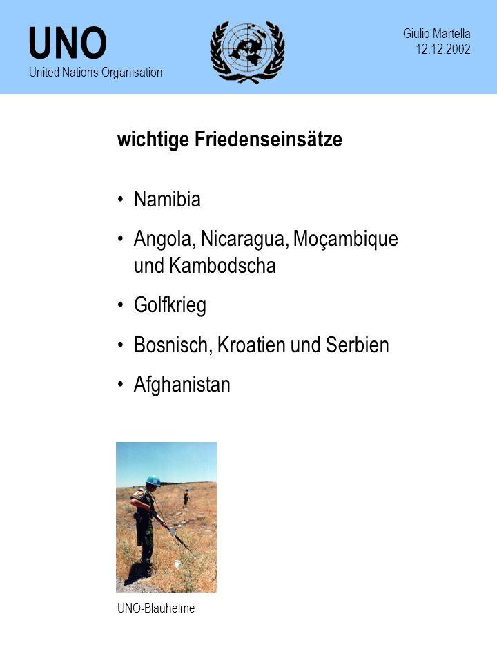 wichtige Friedenseinsätze Namibia