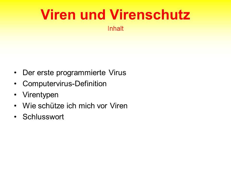 Viren und Virenschutz Inhalt