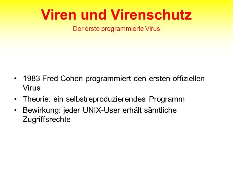 Viren und Virenschutz Der erste programmierte Virus