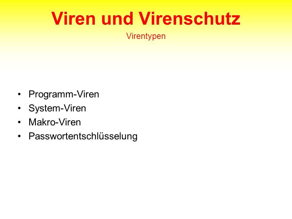 Viren und Virenschutz Virentypen