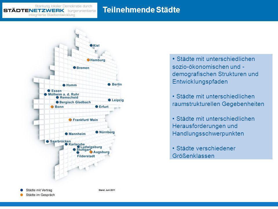 Teilnehmende Städte Überblick: Beteiligte Städte