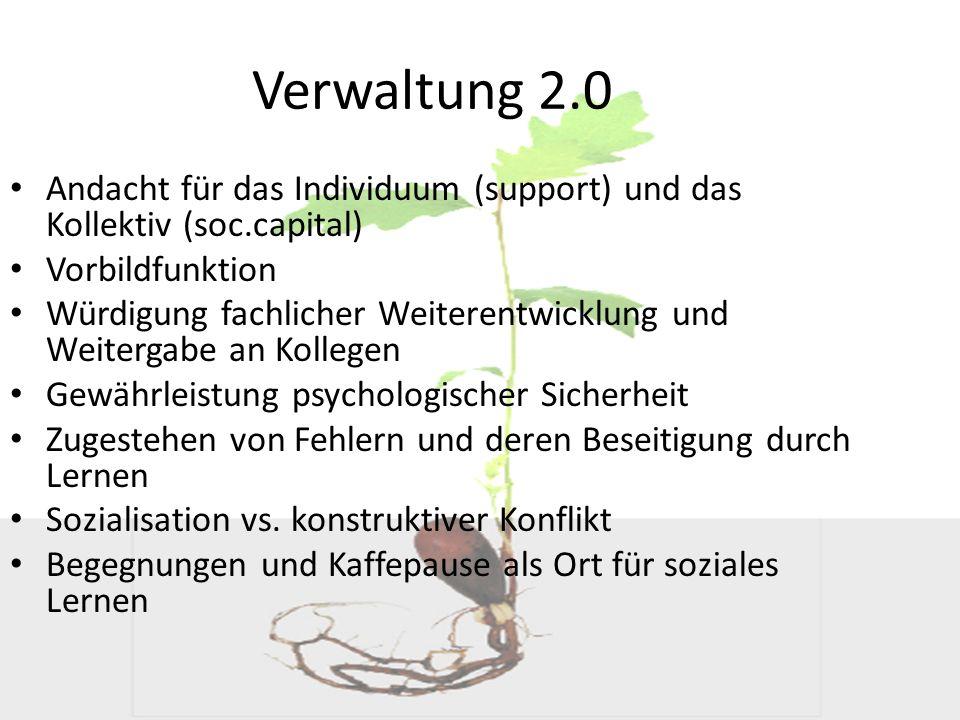 Verwaltung 2.0 Andacht für das Individuum (support) und das Kollektiv (soc.capital) Vorbildfunktion.