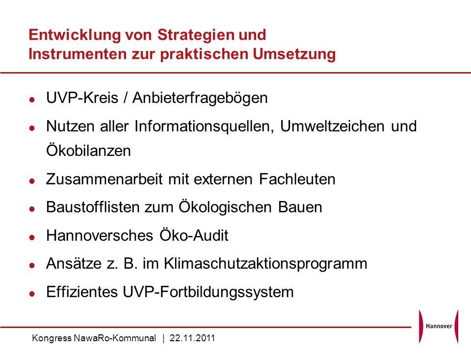Entwicklung von Strategien und Instrumenten zur praktischen Umsetzung