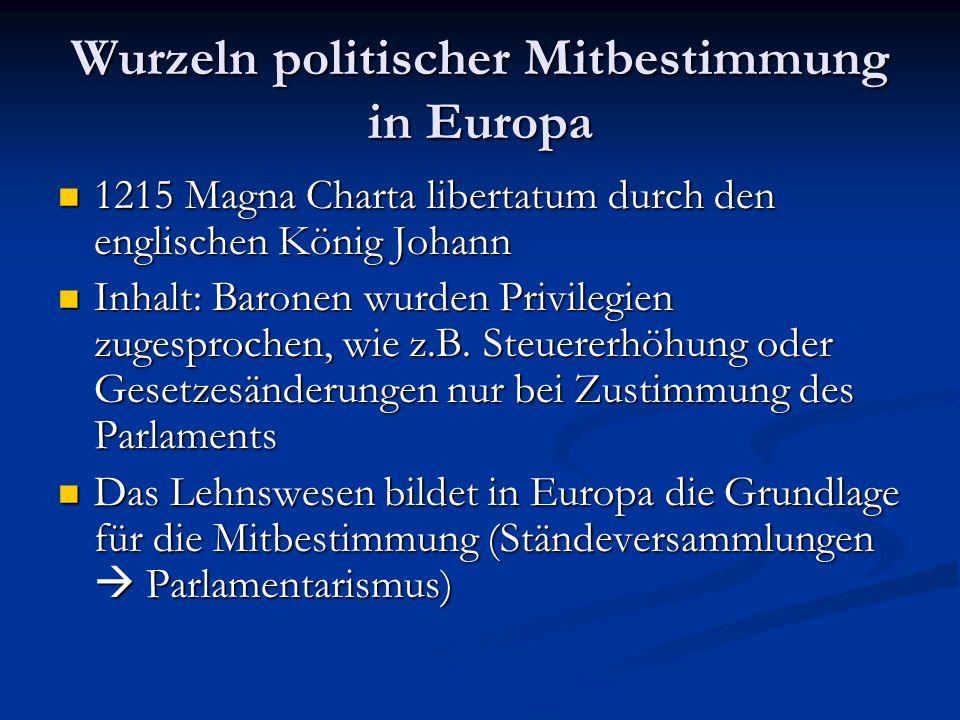 Wurzeln politischer Mitbestimmung in Europa