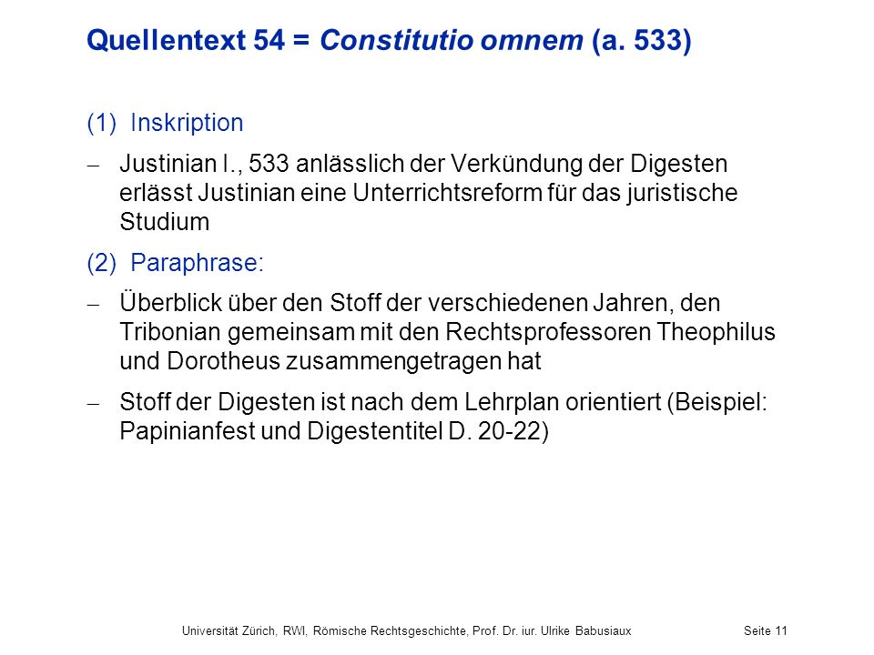 Quellentext 54 = Constitutio omnem (a. 533)