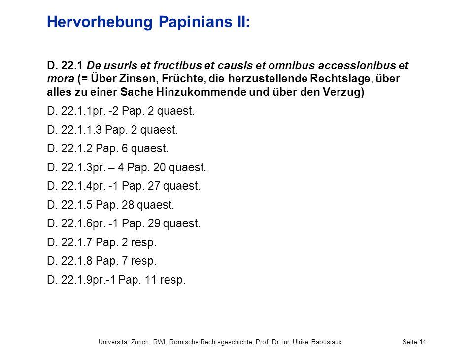 Hervorhebung Papinians II: