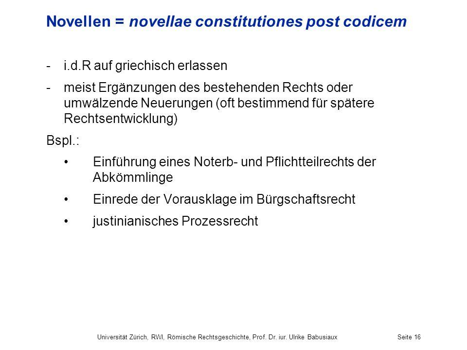 Novellen = novellae constitutiones post codicem