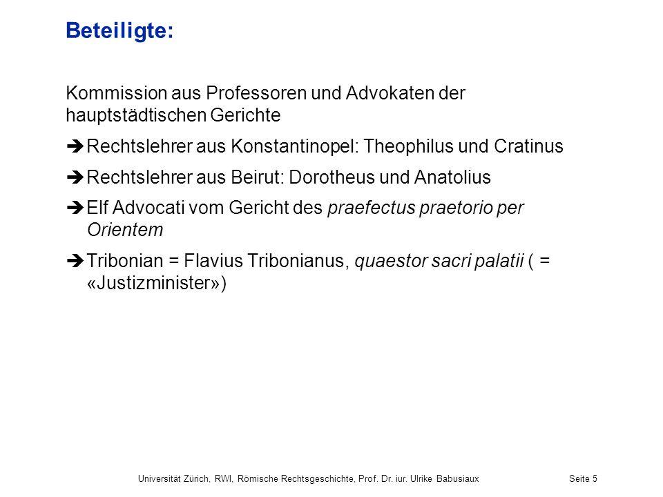 Beteiligte: Kommission aus Professoren und Advokaten der hauptstädtischen Gerichte. Rechtslehrer aus Konstantinopel: Theophilus und Cratinus.