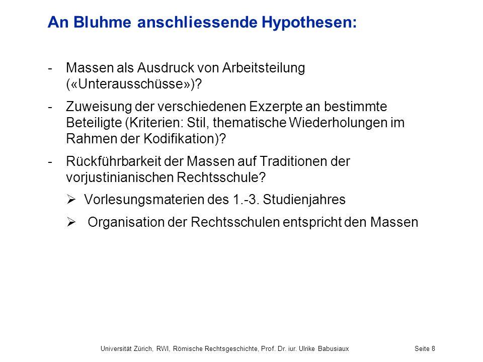 An Bluhme anschliessende Hypothesen: