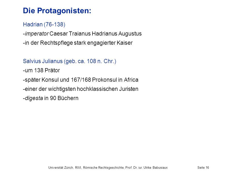 Die Protagonisten: Hadrian (76-138)