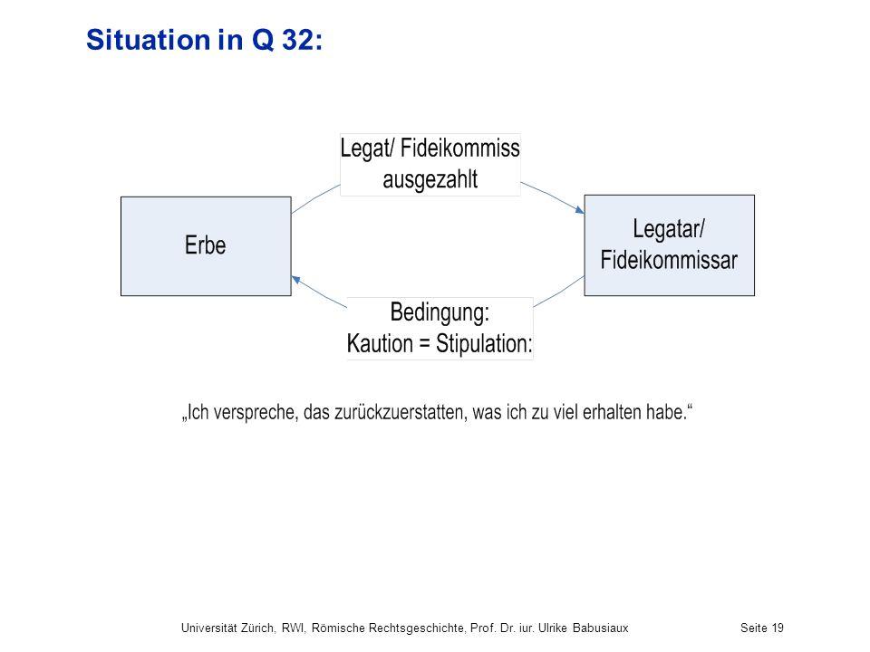 Situation in Q 32: Universität Zürich, RWI, Römische Rechtsgeschichte, Prof. Dr. iur. Ulrike Babusiaux.