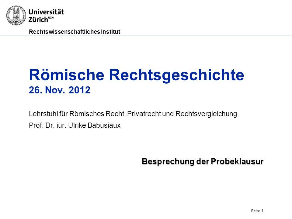 Römische Rechtsgeschichte 26. Nov. 2012
