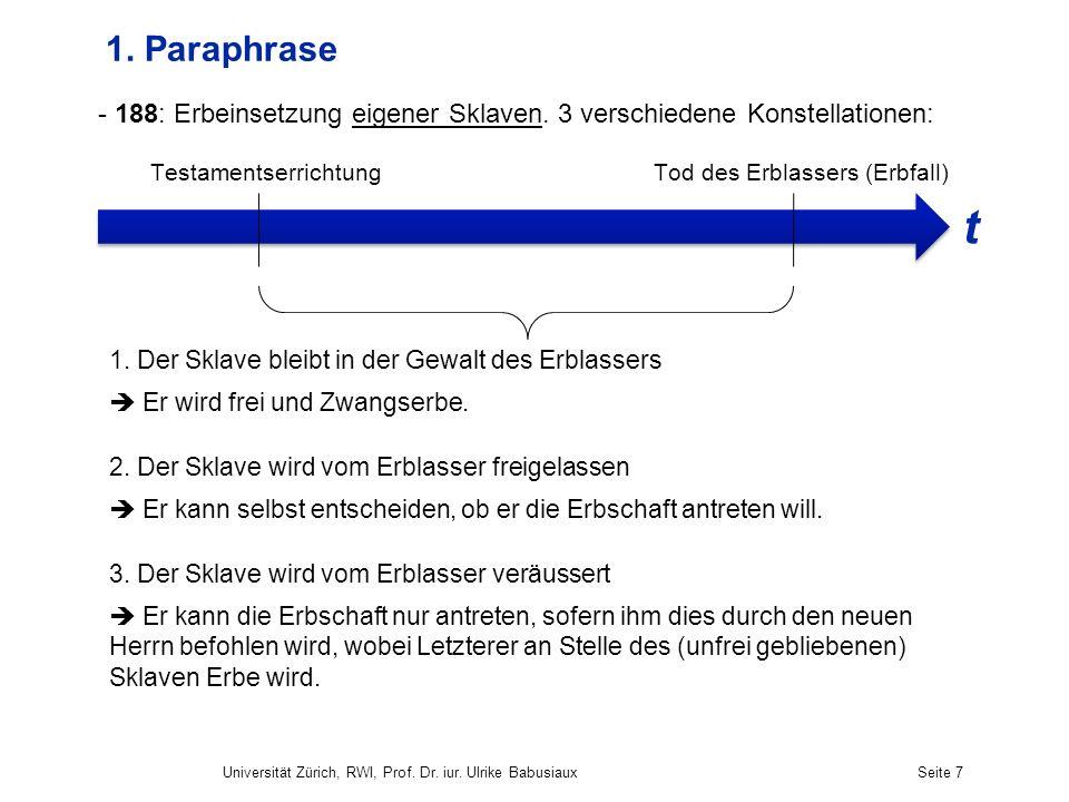 1. Paraphrase 188: Erbeinsetzung eigener Sklaven. 3 verschiedene Konstellationen: