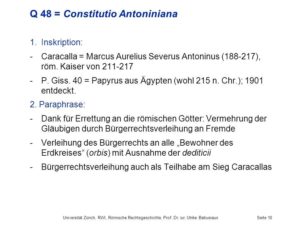 Q 48 = Constitutio Antoniniana