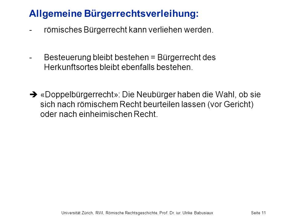 Allgemeine Bürgerrechtsverleihung:
