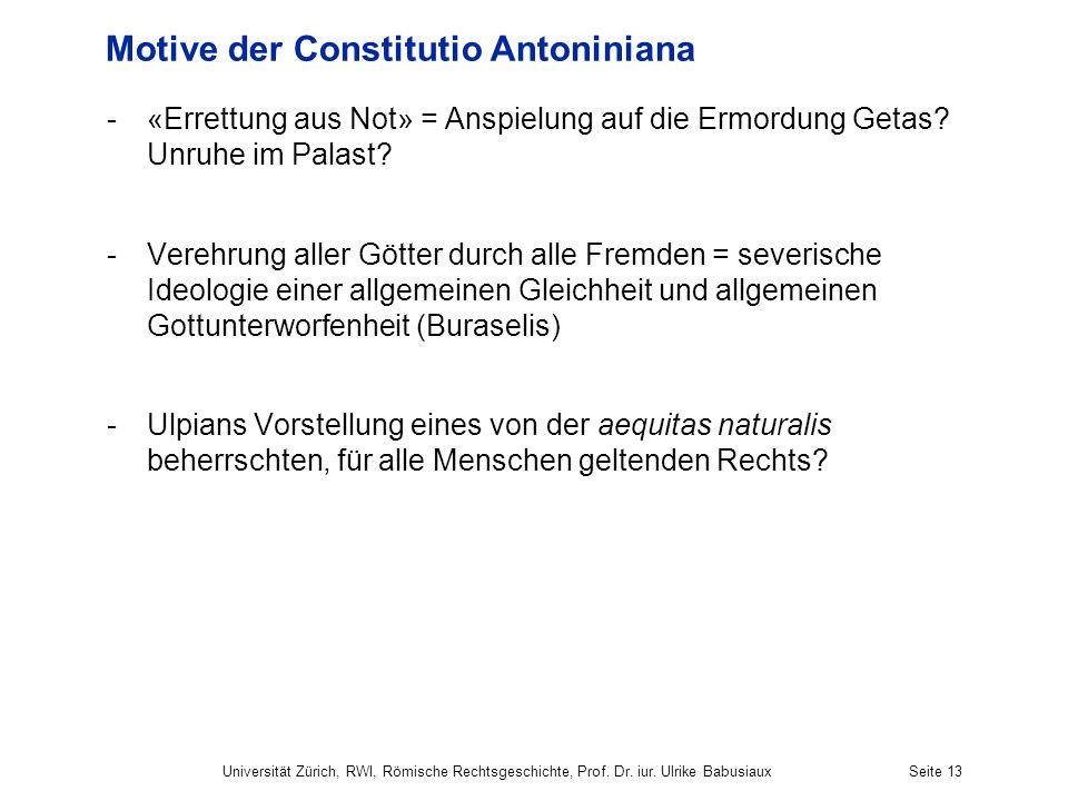 Motive der Constitutio Antoniniana