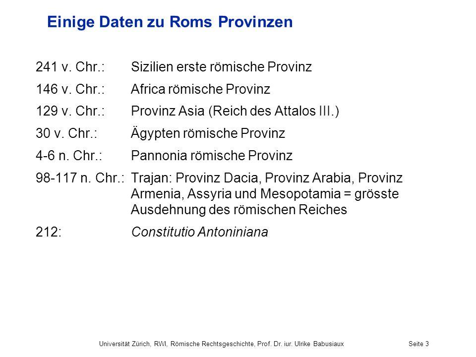 Einige Daten zu Roms Provinzen